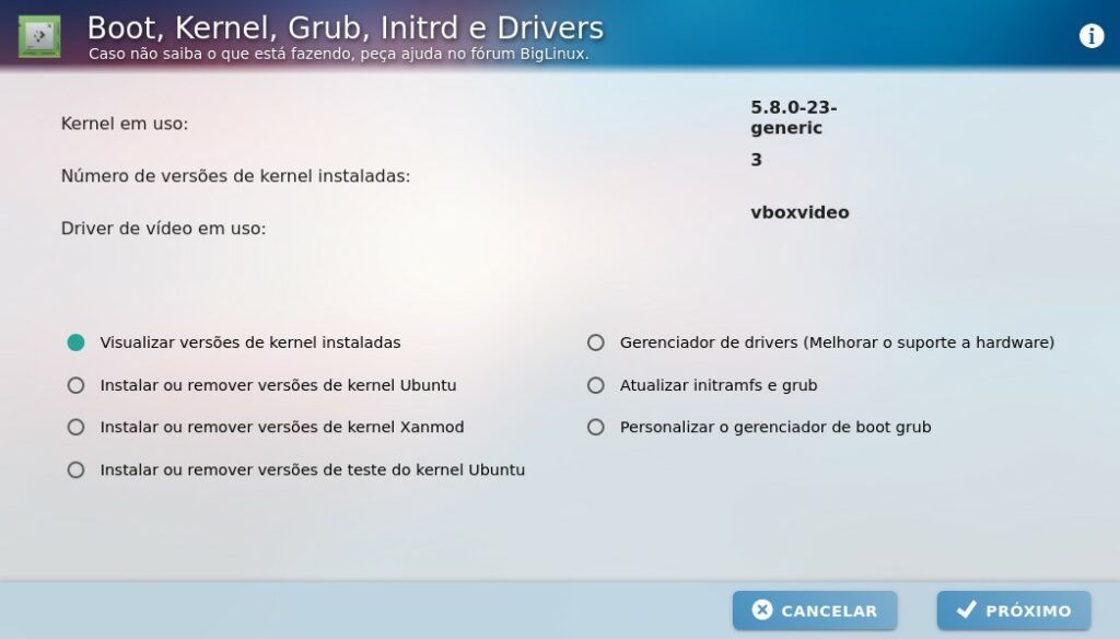 Gerenciar Boot, Kernel e Drivers