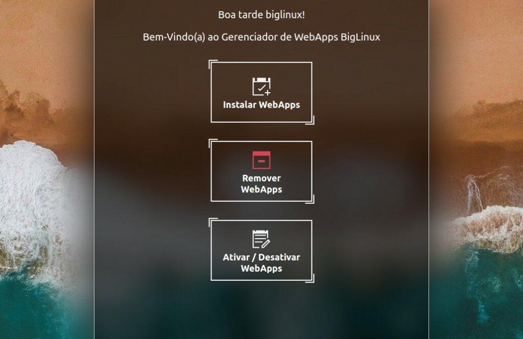 Interface principal para WebApps